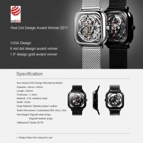 Xiaomi CIGA T Series Jam Tangan Mechanical Watch Skeleton Model Kotak - Black - 10