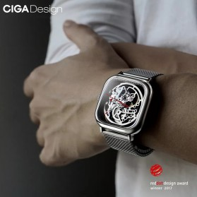 Xiaomi CIGA T Series Jam Tangan Mechanical Watch Skeleton Model Kotak - Black - 5