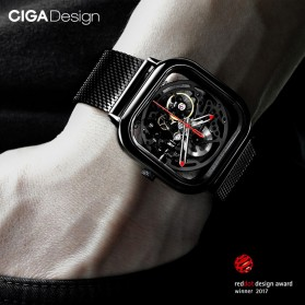 Xiaomi CIGA T Series Jam Tangan Mechanical Watch Skeleton Model Kotak - Black - 6