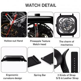 Xiaomi CIGA T Series Jam Tangan Mechanical Watch Skeleton Model Kotak - Black - 7