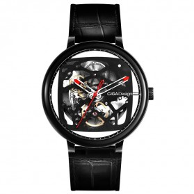 Xiaomi CIGA T Series Jam Tangan Mechanical Watch Skeleton Model Bulat - Black