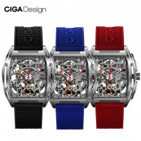 Xiaomi CIGA Z Series Jam Tangan Mechanical Watch Model Double Sided Hollow Skeleton - Black - 2