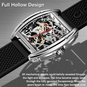 Xiaomi CIGA Z Series Jam Tangan Mechanical Watch Model Double Sided Hollow Skeleton - Black - 4
