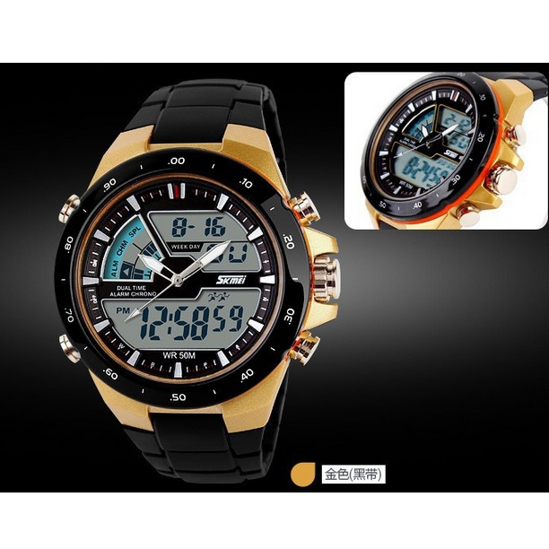 ... SKMEI Jam Tangan Digital Analog Pria - AD1016 - Golden - 4 ... 2a1c1016b4
