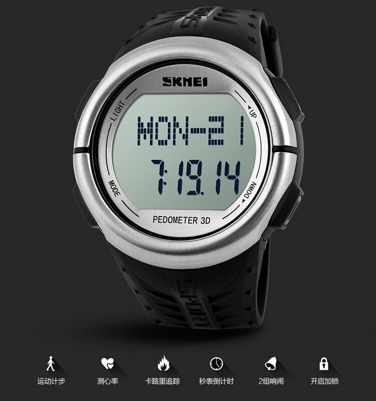 ... SKMEI Jam Tangan Olahraga Pedometer Heart Rate - DG1058HR - Black - 3  ... 63568f7ebf