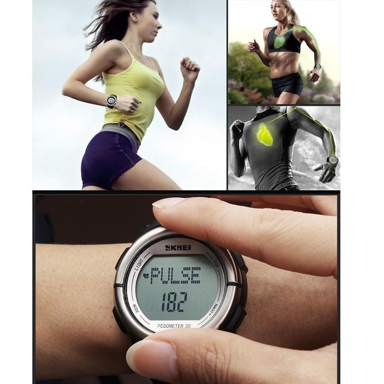 SKMEI Jam Tangan Olahraga Pedometer Heart Rate - DG1058HR - Black ... 8017050b9e