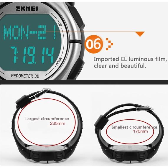 SKMEI Jam Tangan Olahraga Pedometer Heart Rate - DG1058HR - Black - 10 ... c58f53d693