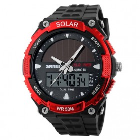 SKMEI Jam Tangan Solar Digital Analog Pria - AD1049E - Red