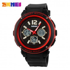 SKMEI Casio Men Sport LED Watch Water Resistant 50m - AD1051 - Black/Red