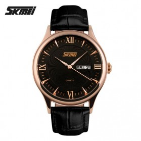 SKMEI Casual Men Leather Strap Watch Water Resistant 30m - 9091CL - Black