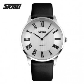 SKMEI Casual Men Leather Strap Watch Water Resistant 30m - 9092CL - White