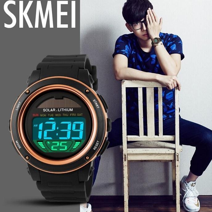 SKMEI Jam Tangan Tenaga Solar Pria - DG1096 - Black/Blue - 9 ...