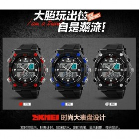 SKMEI Jam Tangan Sporty Digital Analog Pria - AD1092 - Black with White Side - 4
