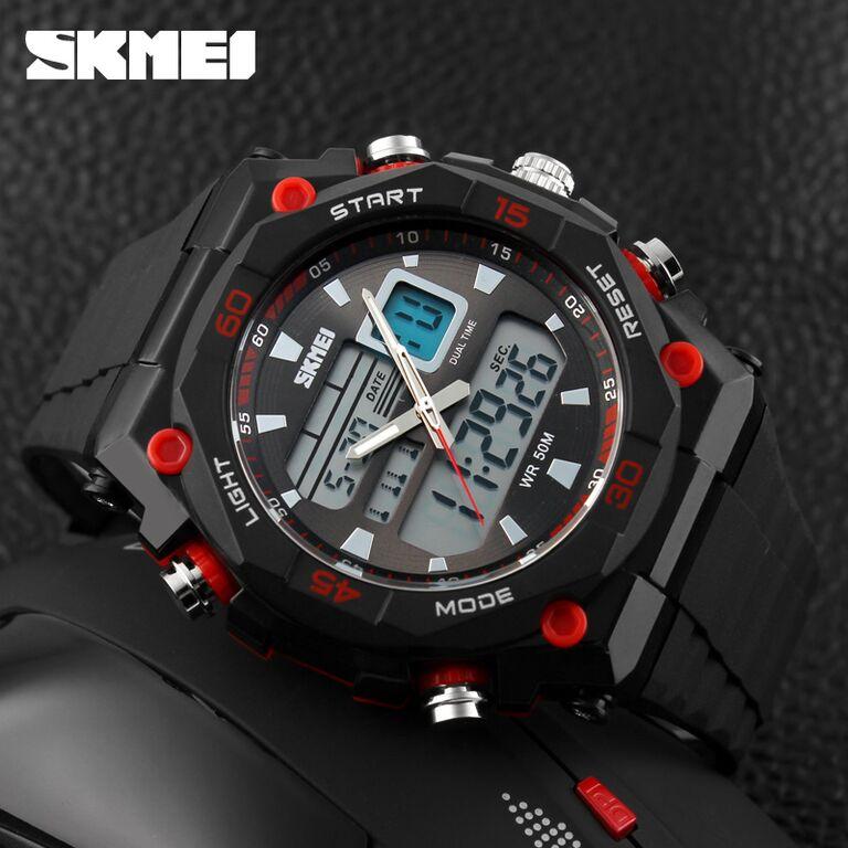 ... SKMEI Jam Tangan Sporty Digital Analog Pria - AD1092 - Black Red - 3 ... 7eea47fd54