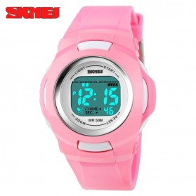 SKMEI Children Sport Rubber LED Watch Water Resistant 50m - DG1094 - Pink