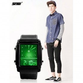 SKMEI Jam Tangan Trendy Digital Analog Pria - 0814G - Black/Silver - 9