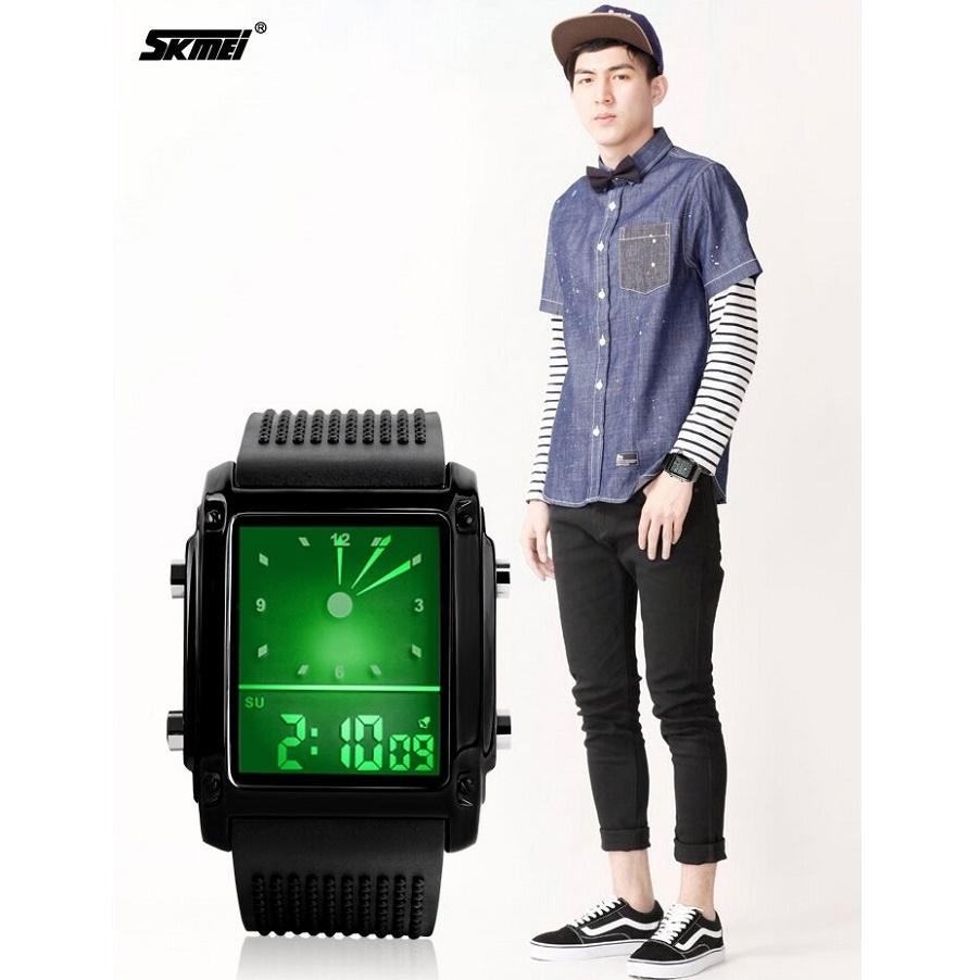 Skmei Jam Tangan Trendy Digital Analog Pria 0814g Black Silver Ad1016 9
