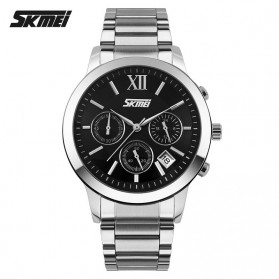 SKMEI Casual Men Stainless Strap Watch Water Resistant 30m - 9097CS - Black