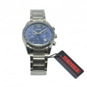 SKMEI Casual Men Stainless Strap Watch Water Resistant 30m - 9096CS - Blue