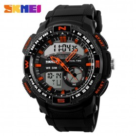 SKMEI Casio Men Sport LED Watch Water Resistant 50m - AD1109 - Black/Orange
