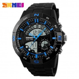 SKMEI Casio Men Sport LED Watch Water Resistant 50m - AD1110 - Black/Blue