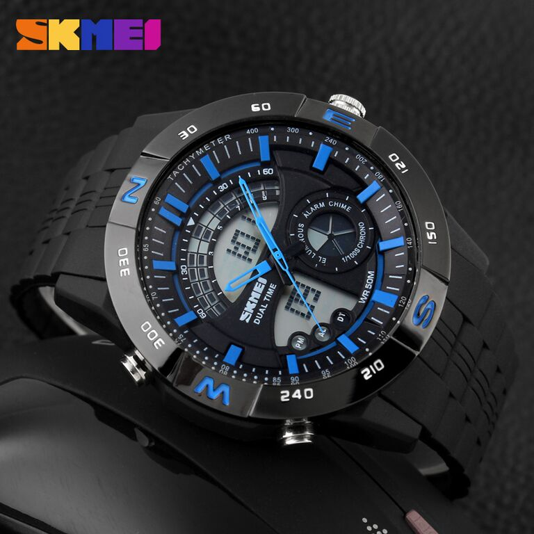 ... Digital Water Source · Skmei Jam Tangan Sport Pria Ad1081 Black Blue Free 1x Topi Adventure Skmei
