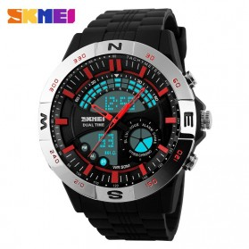 SKMEI Jam Tangan Analog Digital Pria - AD1110 - Silver/Red