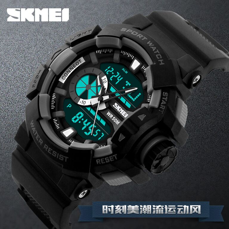 ... SKMEI Jam Tangan Digital Analog Pria - AD1117 - Blue - 8 ...