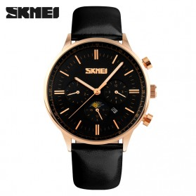 SKMEI Casual Men Leather Strap Watch Water Resistant 30m - 9117CL - Black Gold
