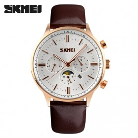 SKMEI Casual Men Leather Strap Watch Water Resistant 30m - 9117CL - White/Gold