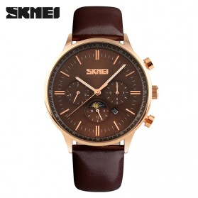 SKMEI Casual Men Leather Strap Watch Water Resistant 30m - 9117CL - Coffee