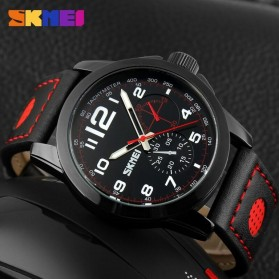 SKMEI Jam Tangan Analog Pria - 9111CL - Black/Red - 3
