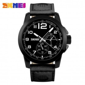 SKMEI Casual Men Leather Strap Watch Water Resistant 50m - 9111CL - Black