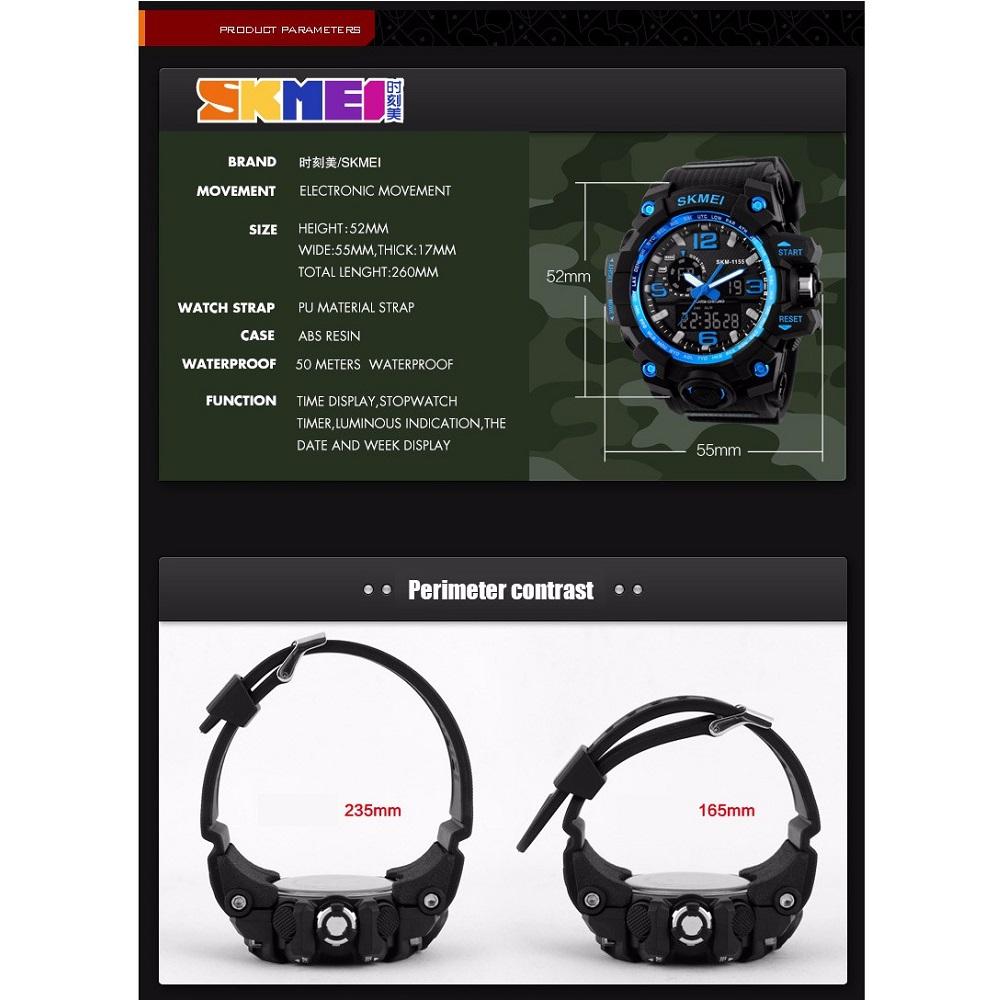 Skmei Jam Tangan Analog Digital Pria Ad1155 Black Blue Ad1016 8
