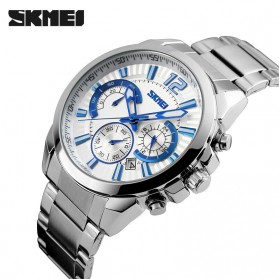 SKMEI Jam Tangan Analog Pria - 9108CS - White/Silver - 2