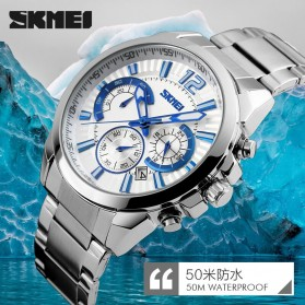 SKMEI Jam Tangan Analog Pria - 9108CS - White/Silver - 5