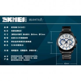 SKMEI Jam Tangan Analog Pria - 9108CS - White/Silver - 7