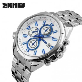 SKMEI Jam Tangan Analog Pria - 9107CS - White/Silver - 2
