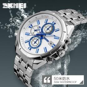 SKMEI Jam Tangan Analog Pria - 9107CS - White/Silver - 5
