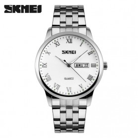 SKMEI Casual Men Stainless Strap Watch Water Resistant 30m - 9110CS - White/Silver