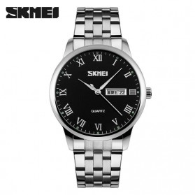 SKMEI Casual Men Stainless Strap Watch Water Resistant 30m - 9110CS - Silver Black