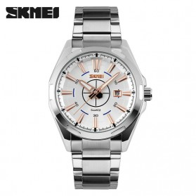 SKMEI Casual Men Stainless Strap Watch Water Resistant 30m - 9118CS - Silver/Gold