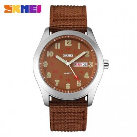 SKMEI Casual Men Army Strap Watch Water Resistant 30m - 9112C - Coffee