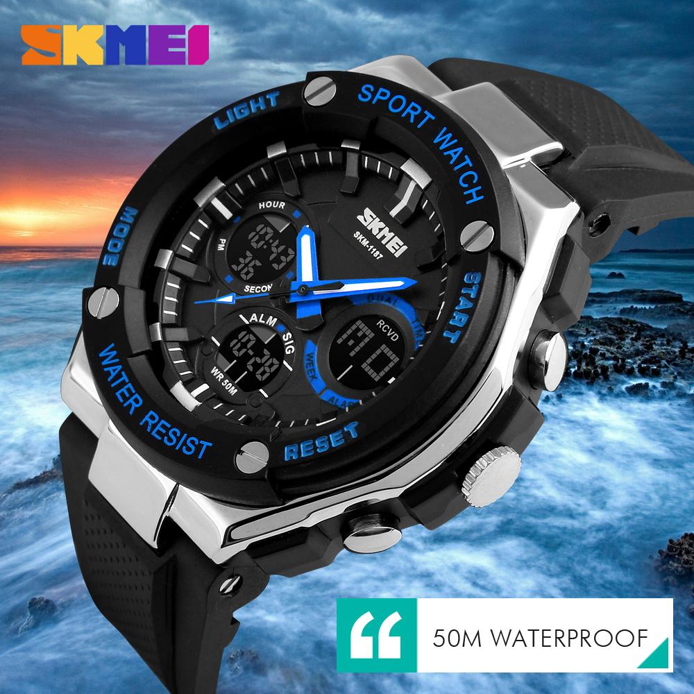 Skmei jam tangan analog pria ad1187 black white 4