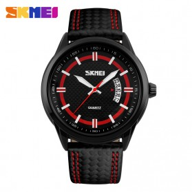 SKMEI Casual Men Leather Strap Watch Water Resistant 30m - 9116CL - Red