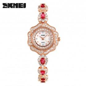 SKMEI Girl Fashion Stylis Diamond Bracelet Quartz Watch - 1199L - Rose Gold