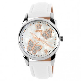 SKMEI Casual Women Leather Strap Watch Water Resistant 30m - 9079CL - White