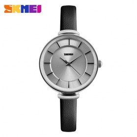 SKMEI Casual Women Leather Strap Watch Water Resistant 30m - 1184CL - Silver Black
