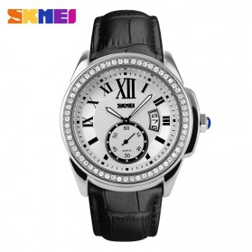 SKMEI Casual Women Leather Strap Watch Water Resistant 30m - 1147CL - Silver Black