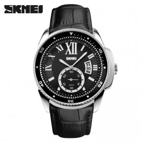 SKMEI Casual Men Leather Strap Watch Water Resistant 30m - 1135CL - Silver Black